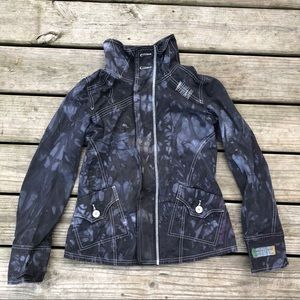 Diesel black tie dye zip up utility jacket